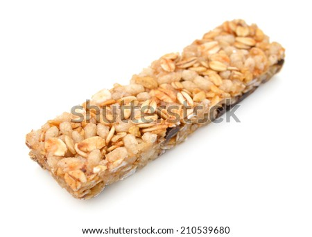 Granola bars with chocolate on white background  - stock photo