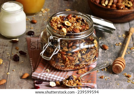 Granola from several types of cereals with nuts,coconut chips and dried cranberry. - stock photo