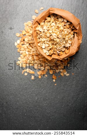 Granola in paper bag. Top view.