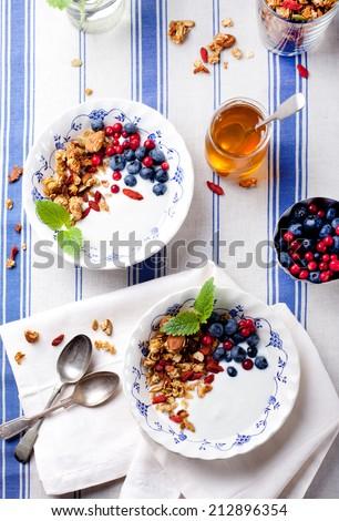 Granola with pumpkin seeds and goji berries, honey, yogurt and fresh berries on blue and white background. - stock photo