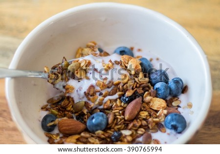 granola, yogurt and blueberry in a bowl  - stock photo