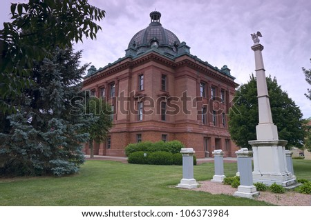 Grant County courthouse building and memorials in Lancaster Wisconsin - stock photo