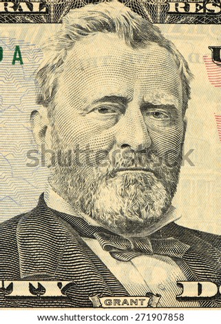 grant on the fifty dollar bill - stock photo
