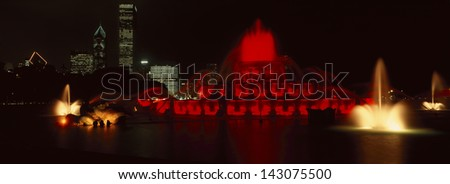 Grant Park and Buckingham Fountain at night, Chicago, IL - stock photo