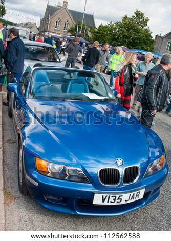 GRANTOWN ON SPEY, SCOTLAND - SEPTEMBER 2: BMW Z3 on display in the annual Motor Mania car show on September 2, 2012 in Grantown On Spey, Scotland - stock photo