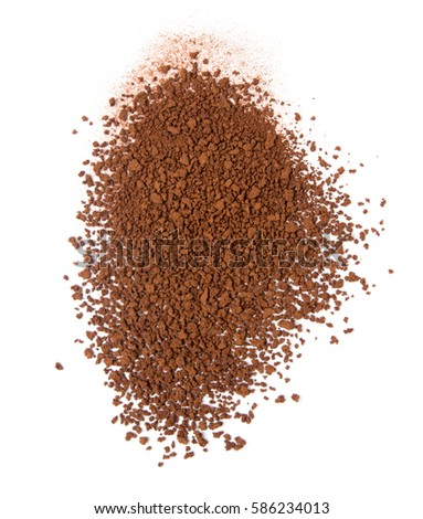 granulated soluble coffee on a white background