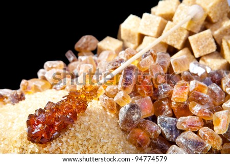 Granulated sugar, sugar not refined, sugar candy - stock photo