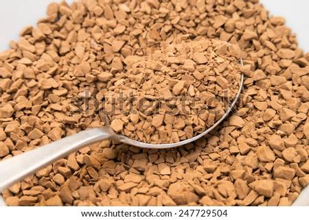 granule of instant coffee - stock photo