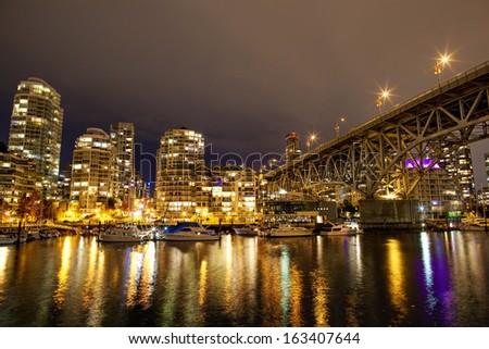Granville bridge in Vancouver in night - stock photo