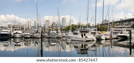 Granville Island Marina in Vancouver BC Canada Panorama - stock photo