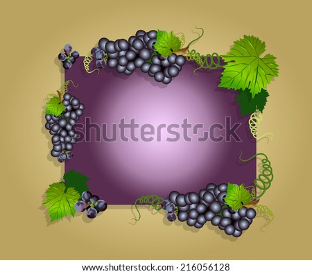 grape border or frame with grapes and leaves,greeting card or poster or brochure with grapes,grapes on vintage background,purple or red grapes on purple background - stock photo