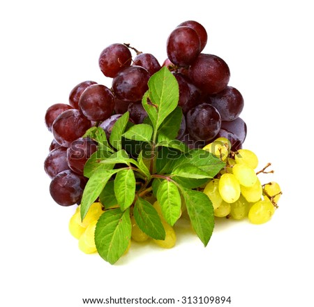 Grape cluster with leaves isolated on a white background - stock photo