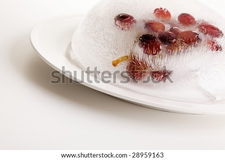 grape fruit frozen in a ice block on a white plate