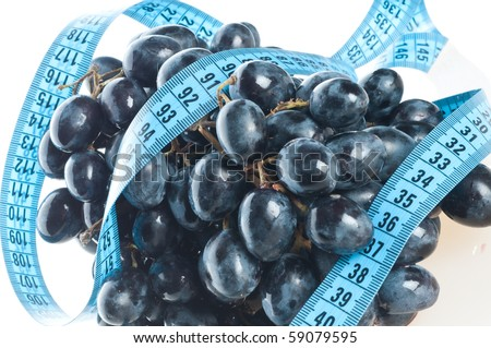 grape Fruit with measurement isolated on white - stock photo
