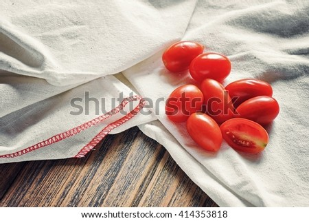 Grape or cherry tomatoes, Fresh tomatoes, Healthy ingredients. (Color Process) - stock photo