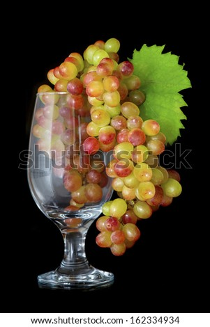Grape's bunch  in the wine glass on black background - stock photo
