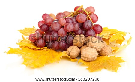 Grape with nuts isolated on white