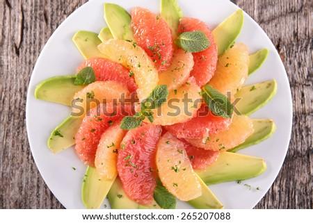grapefruit and avocado - stock photo
