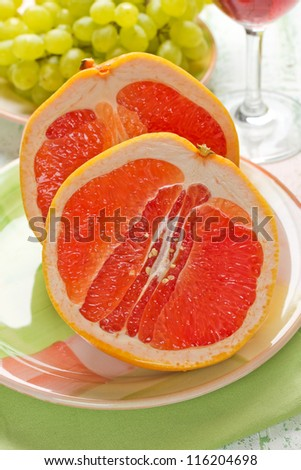 Grapefruit and grapes