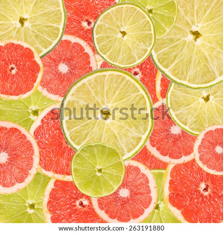 Grapefruit And Lime Slice Abstract Seamless Pattern - stock photo