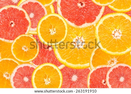 Grapefruit And Orange Slice Abstract Seamless Pattern - stock photo