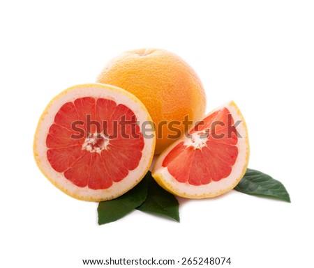 Grapefruit. Fresh citrus Orange fruit on white background  - stock photo