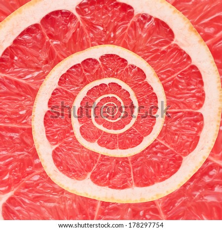 Grapefruit infinity spiral abstract background. Fibonacci.  - stock photo