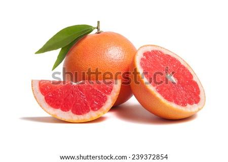 grapefruit isolated on white background - stock photo