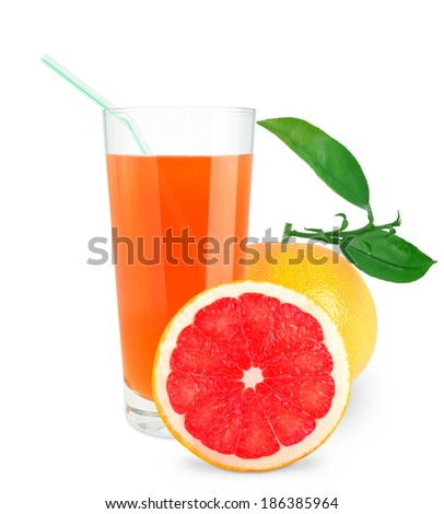 Grapefruit juice in glass on white background