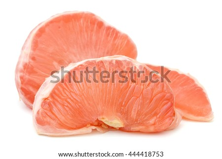 Grapefruit (red ruby) peeled on white