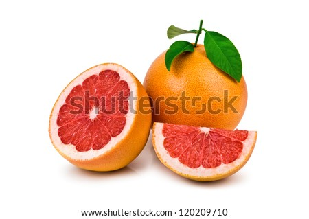grapefruit with leaf isolated on white