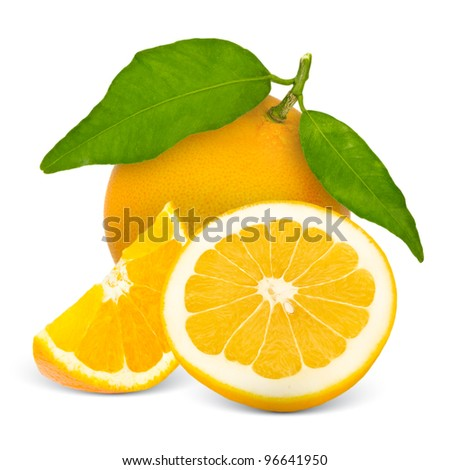 Grapefruit with leaves and slices isolated on white - stock photo