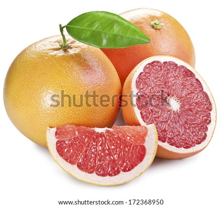 Grapefruits with green leaf on a white background. - stock photo