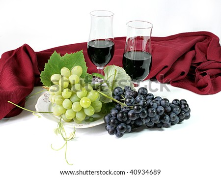 Grapes and Glasses with wine