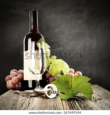 grapes and leaves and wine  - stock photo