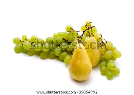 grapes and two pears on a white background
