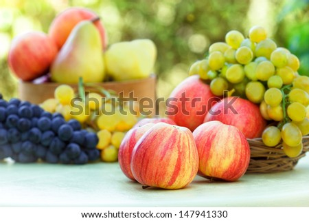Grapes, apples and pears - stock photo
