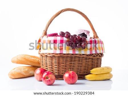 grapes, apples, bananas, baguettes isolated on white - stock photo