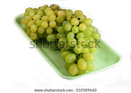 Grapes cluster white background - stock photo