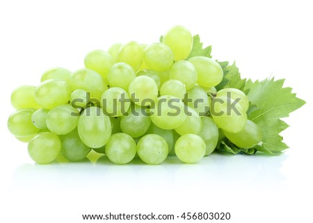 Grapes green fresh fruits fruit isolated on a white background - stock photo