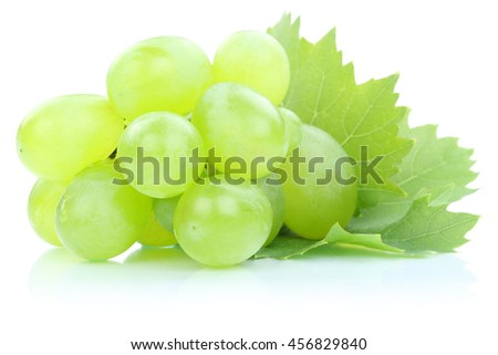 Grapes green fresh fruits fruit leaves isolated on a white background - stock photo