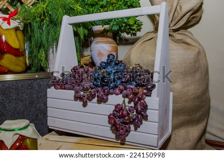 Grapes in a basket - stock photo