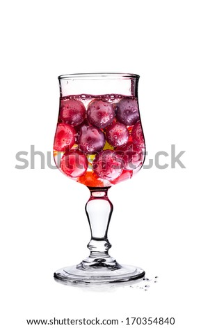 Grapes in glass Isolated on white background, with clipping path - stock photo