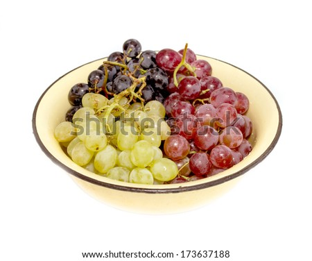 Grapes in the plate on white background