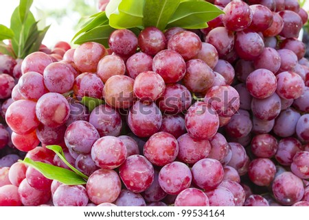 Grapes on market stand