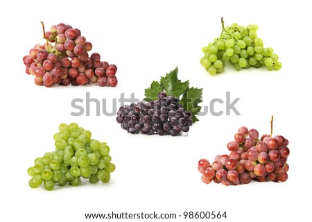 Grapes on white background - stock photo