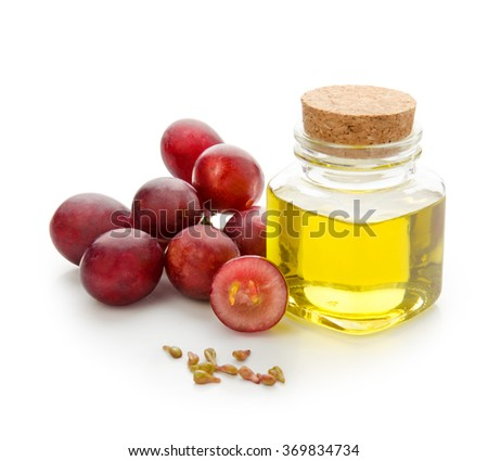 Grapes seeds oil isolated on white background with clipping path. Front view. - stock photo
