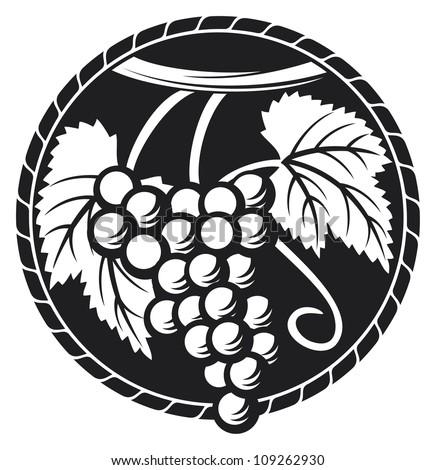 grapes symbol (grapes design, grapes label) - stock photo