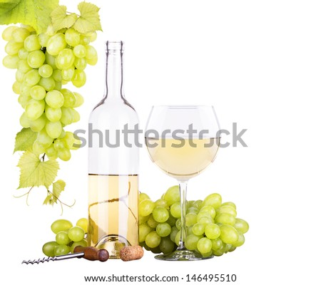 grapes  with corkscrew and wine glass isolated on a white background