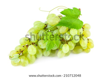 Grapes with leaves isolated on white background - stock photo